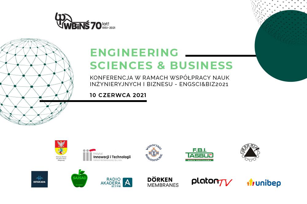 grafika, na białym tle napis Enmgineering Sciences&Business 17 czerwca 2021