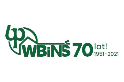 grafika, na białym tle logo WBiNŚ z napisem70-lat