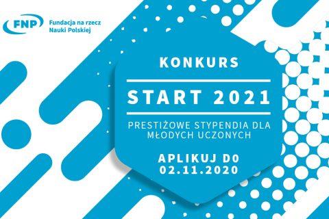 Grafika, niebiesko-białe elementy oraz napisy: Fundacja na rzecz Nauki Polskiej. Konkurs Start 2021. Prestiżowe stypendia dla młodych uczonych. Aplikuj do 2.11.2020