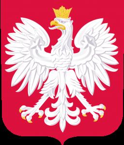 Godło RP, biały orzeł w koronie na czerwonym tle