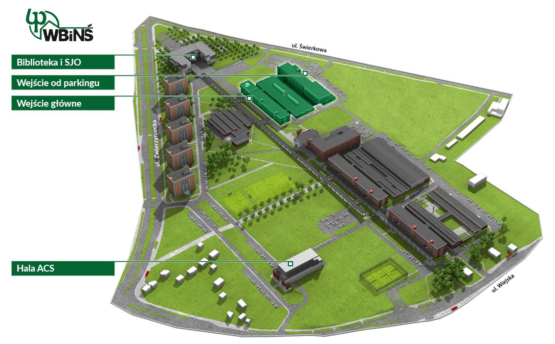 grafika, obrazująca mapę kampusu PB