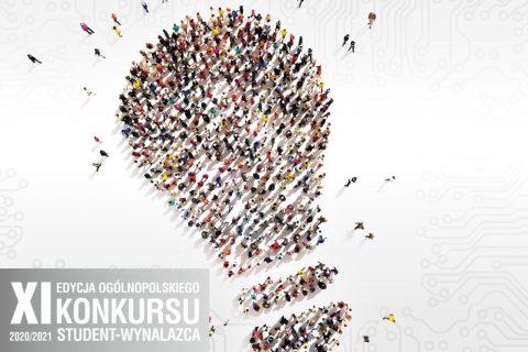 grafika symbol żarówki utworzonej przez wiele postaci ludzkich. XI Edycja Ogólnopolskiego Konkursu Student-Wynalazca 2020/2021