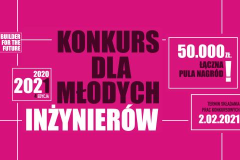 grafika-różowe tło z napisem Konkurs dla młodych inżynierów 2020-2021 4 edycja