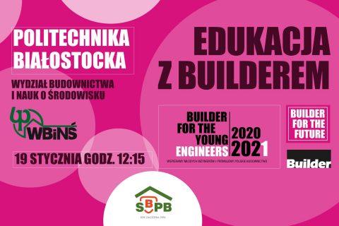grafika na różowym tle, Edukacja z Builderem, WBiNŚ 19 stycznia godzina 12:15