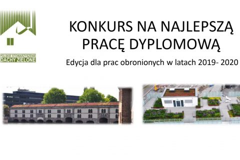 grafika-białe tło z napisem Konkurs na najlepszą pracę dyplomową, logo Polskie Stowarzyszenie Dachy Zielone