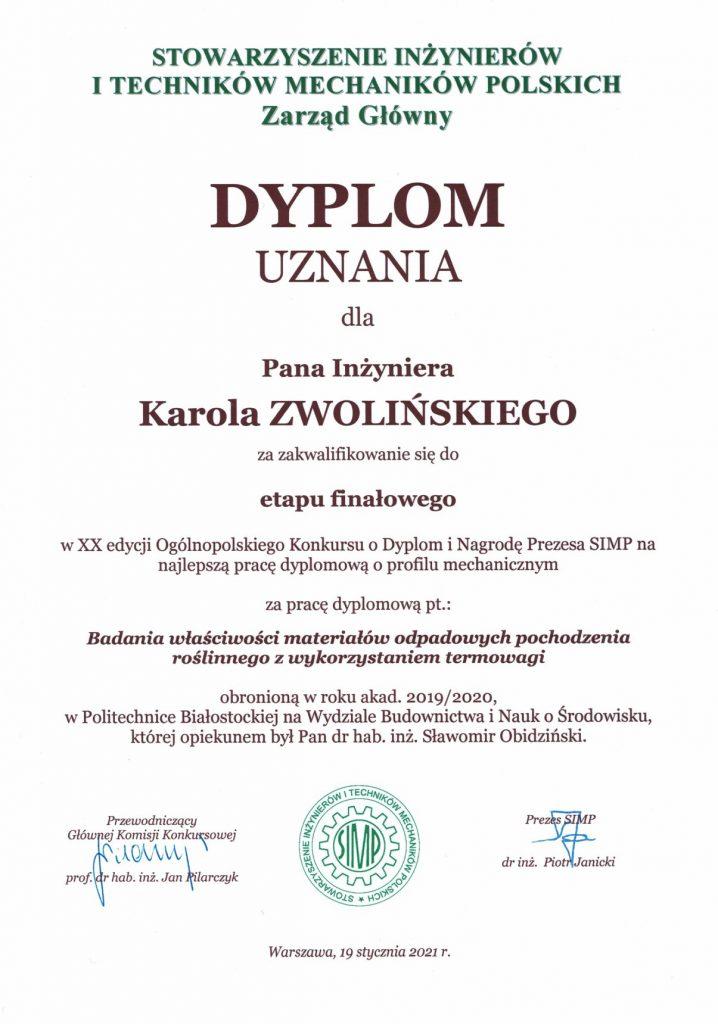 Dyplom uznania dla Pana Inżyniera Karola Zwolińskiego