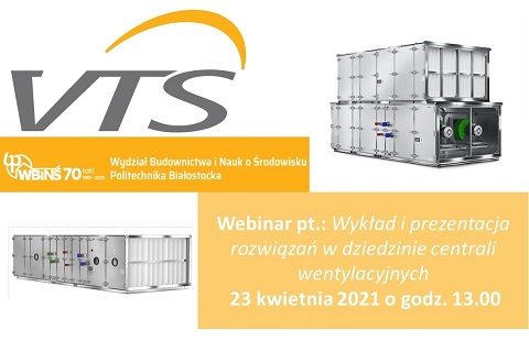 Zaproszenie na Wykład i prezentacje rozwiązań w dziedzinie centrali wentylacyjnych.