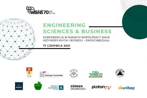 grafika, na białym tle napis ENGINEERING SCIENCES & BUSINESS, 17 czerwca 2021