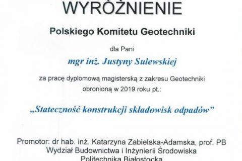 Wyróżniona praca dyplomowa z zakresu Geotechniki