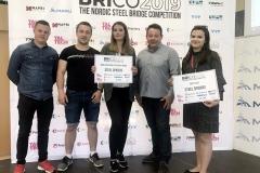 """Studenci Koła Naukowego """"Konstruktor"""" na WBiIŚ zdobyli złoto i srebro na międzynarodowym konkursie mostów stalowych BRICO 2019 w Estonii, 13-17 maja 2019 r."""